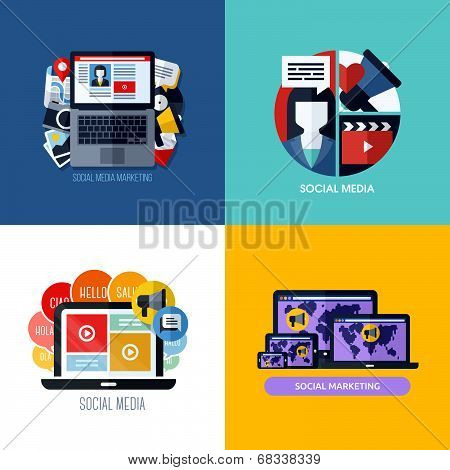 Modern Flat Vector Concepts Of Social Media Marketing. Icons Set For Websites, Mobile Apps