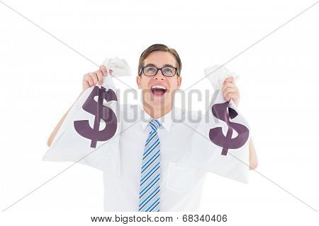 Geeky happy businessman holding bags of money on white background