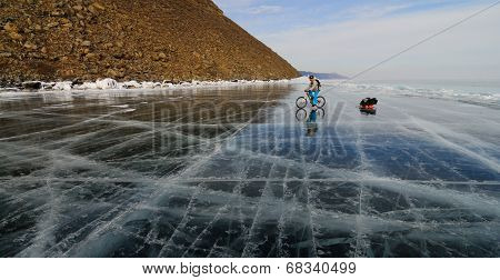 Bicycle Tourist On The Ice