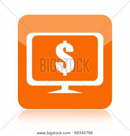 Money, computer and internet icon