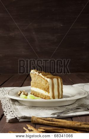 Cake Slice With Textured Background