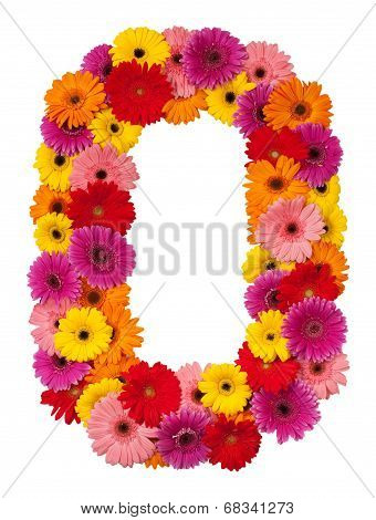 Letter O - Flower Alphabet Isolated On White