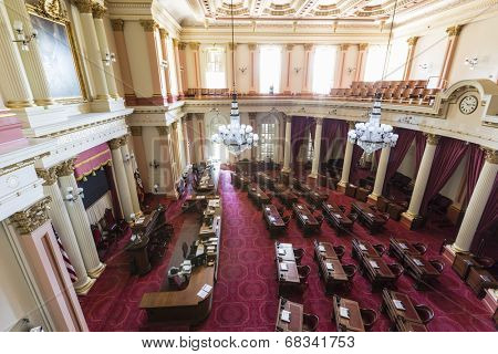 SACRAMENTO, CALIFORNIA - July 4, 2014:  California State assembly meeting room in the historic capitol building.