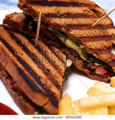 Chicken club sandwich with mozarella