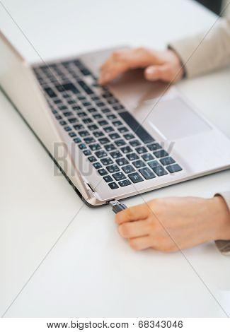 Business Woman Plug In Usb Flash In Laptop