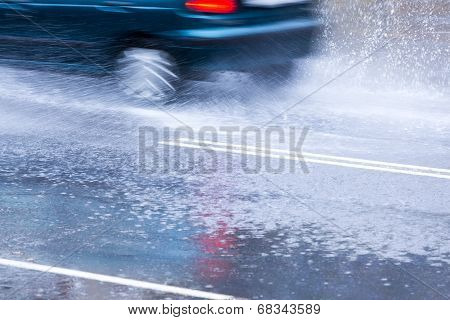 Heavy Rain On Road