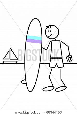 Stick Figure Surf Female