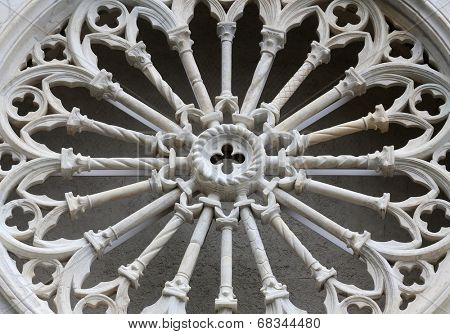 RIOMAGGIORE, ITALY - MAY 02, 2014: Rosette at the Saint John the Baptist church in Riomaggiore, Liguria, Italy one of the Cinque Terre villages, UNESCO World Heritage Sites