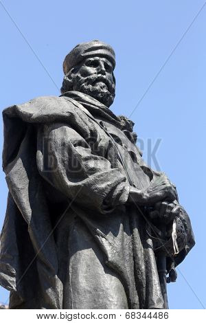 PARMA, ITALY - MAY 01,2014: Giuseppe Garibaldi bronze statue. Parma is famous for its ham, cheese and architecture. It is home to the University of Parma, one of the oldest universities in the world.