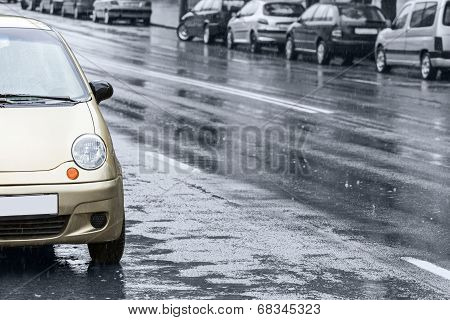 Cars On Wet Road