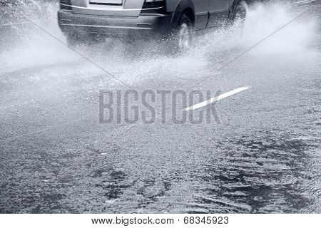Splashes By A Car