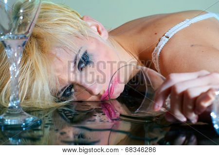 Drunk Woman With Glass