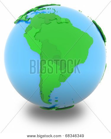 South America On The Globe