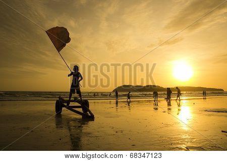 Red Flag At Langkawi Beach
