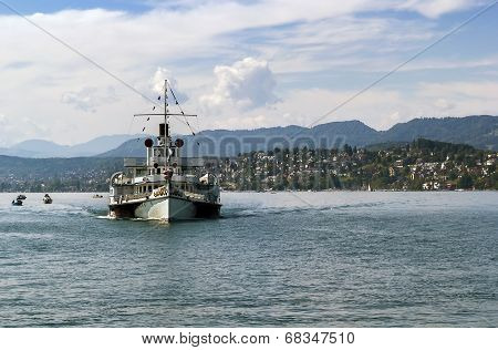 Ship On The Zurich Lake, Switzerland