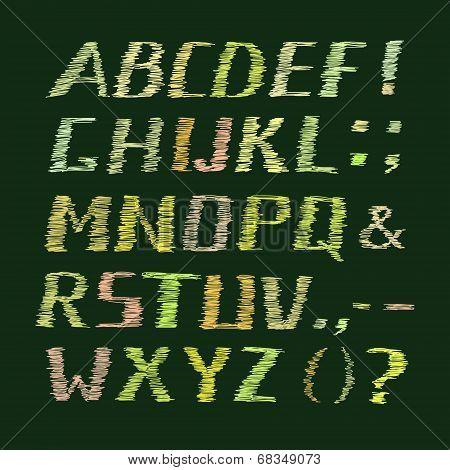 Colorful Handwritten Chalk Alphabet on Green Background