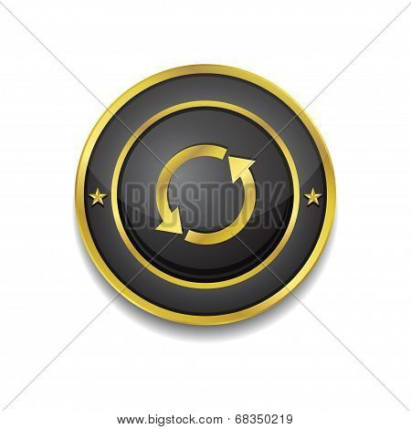Reset Sync Circular Vector Golden Black Web Icon Button