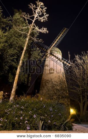 Montefiore Windmill at night, Jerusalem, Israel
