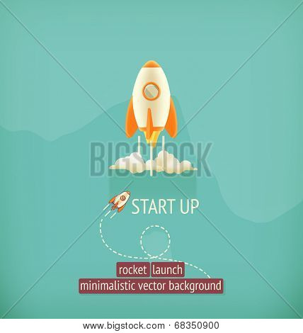Rocket launch, minimalistic vector background