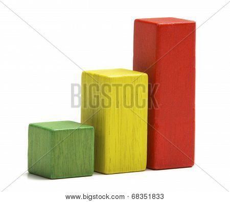 Toys Wooden Blocks As Increasing Graph Bar, Infographic Diagram, Chart Over White Background