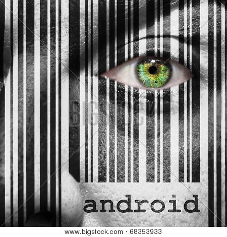 Barcode Android Superimposed On A Man's Face
