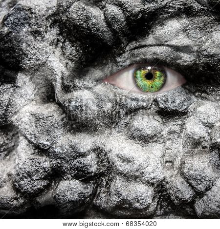 Conceptual Image Of A Face With Stone Boils