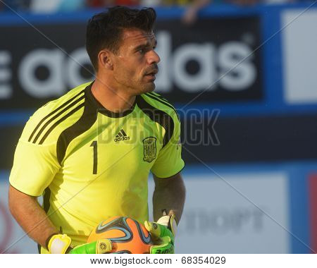 MOSCOW, RUSSIA - JULY 13, 2014: Goalkeeper of team Spain F. J. Donaire aka Dona in the match with Russia during Moscow stage of Euro Beach Soccer League. Dona became the best goalkeeper of the stage