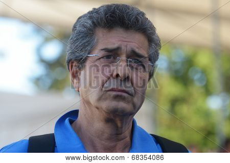 MOSCOW, RUSSIA - JULY 13, 2014: Coach of team Greece Stefanos Soilemes after the match Belarus vs Greece during Moscow stage of Euro Beach Soccer League. Belarus won 6:5