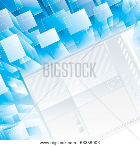 Abstract blue perspective technical background. Raster.
