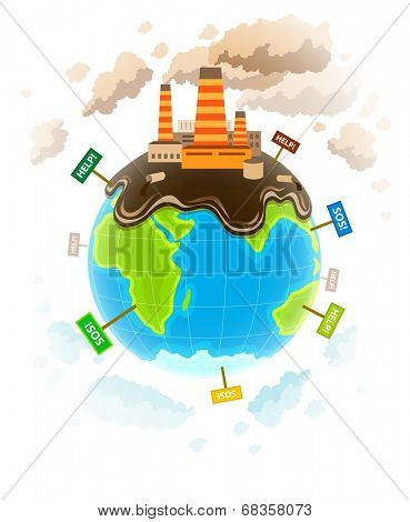 Ecology concept with dirty planet ecocatastrophe. Eps10 vector illustration. Isolated on white background