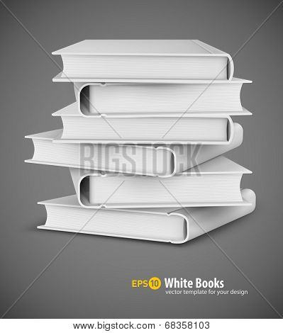 Big pile of white books. Eps10 vector illustration on gray background