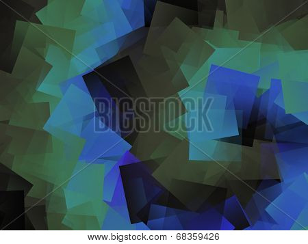 Blue, Green, & Black Spiral Squares