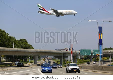 Emirates Airline Airbus A380 on approach to JFK International Airport in New York