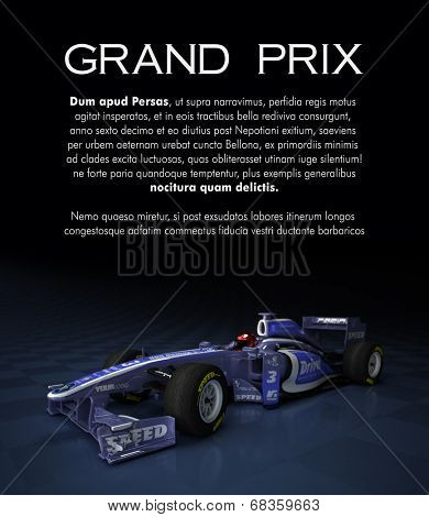 Customizable image with text and a sports race car with fake brands