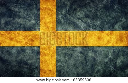 Sweden grunge flag. Vintage, retro style. High resolution, hd quality. Item from my grunge flags collection.
