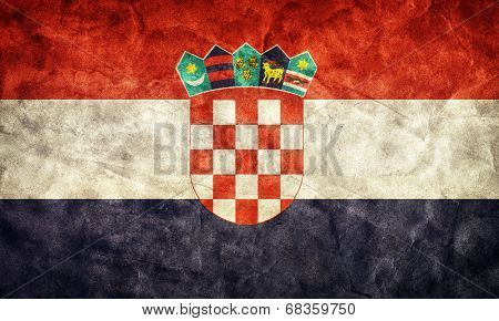 Croatia grunge flag. Vintage, retro style. High resolution, hd quality. Item from my grunge flags collection.