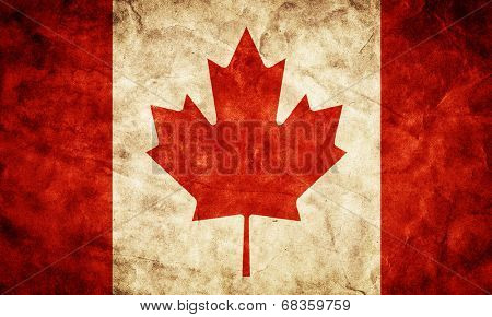 Canada grunge flag. Vintage, retro style. High resolution, hd quality. Item from my grunge flags collection.