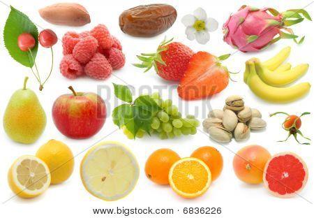 Set Of Fresh Fruits Over White Background