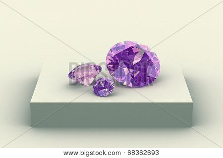 Amethyst On White Podium