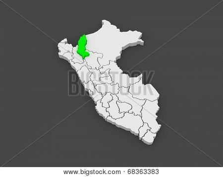 Map of Amazonas. Peru. 3d