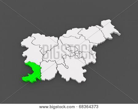 Map of Pribrezhnokarstsky region (Obalno-Kras regia). Slovenia. 3d