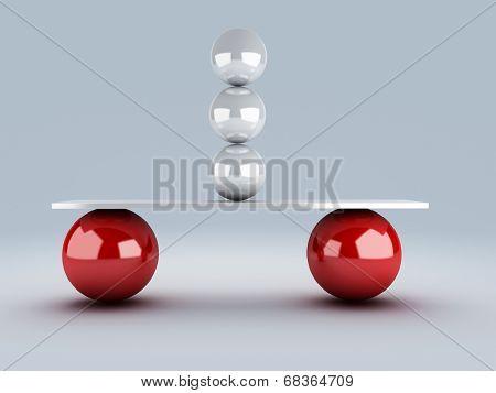 white spheres in equilibrium. balance concept