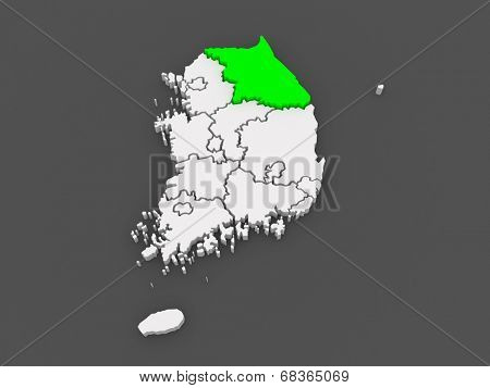 Map of Gangwon. South Korea. 3d