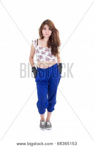 young beautiful girl wearing floral top and gloves