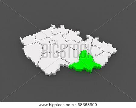 Map of South Moravian Region. Czech Republic. 3d