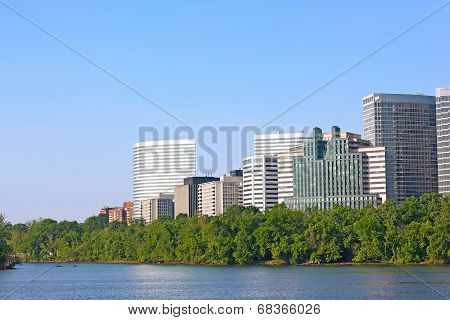 City skyscrapers in Rosslyn Virginia.