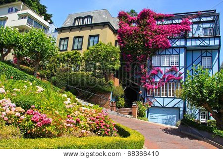 View Of Lombard Street, The Crookedest Street In The World, San Francisco, California