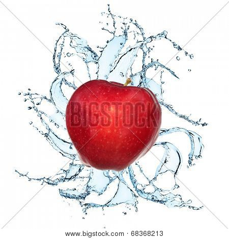 Fresh red apple with water splash over white background