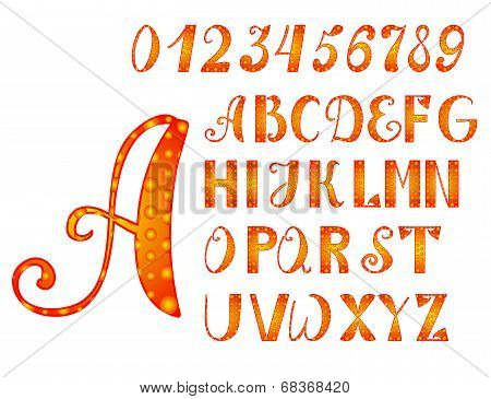 Bright Orange-yellow Alphabet And Numbers