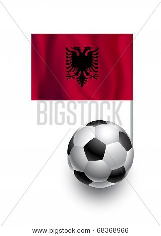 Illustration Of Soccer Balls Or Footballs With  Pennant Flag Of Albania  Country Team
